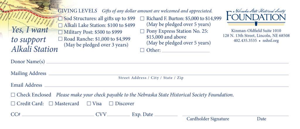 Alkali Station donation card